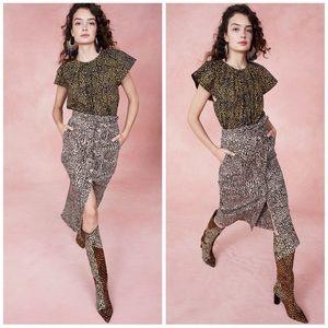 Ulla Johnson Tegan Cheetah Print Denim Skirt RARE